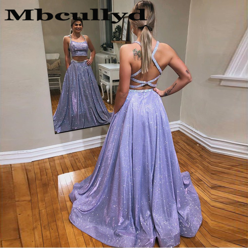 Mbcullyd Two Pieces Long Prom Dresses 2020 Glitter Sequined Evening Dress For Women Beading Cross Backless Vestido De Festa