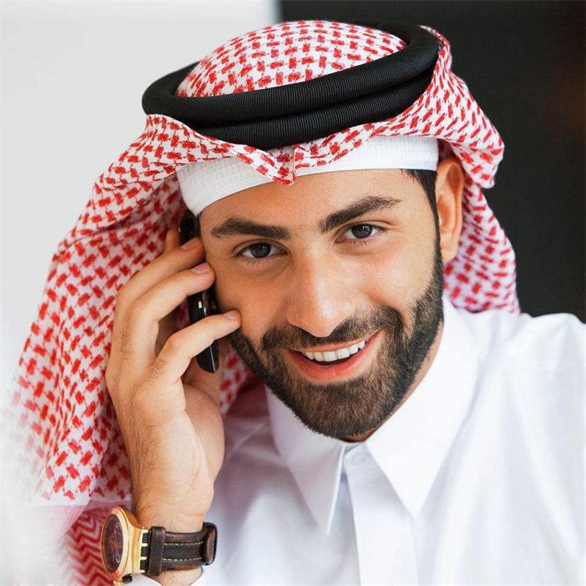 3Colors Islamic Men Traditional Costumes Men Plaid Hat Head Scarf Turban Muslim Hijabs Dubai,Arabic Ramadan Pray Caps 135*135cm