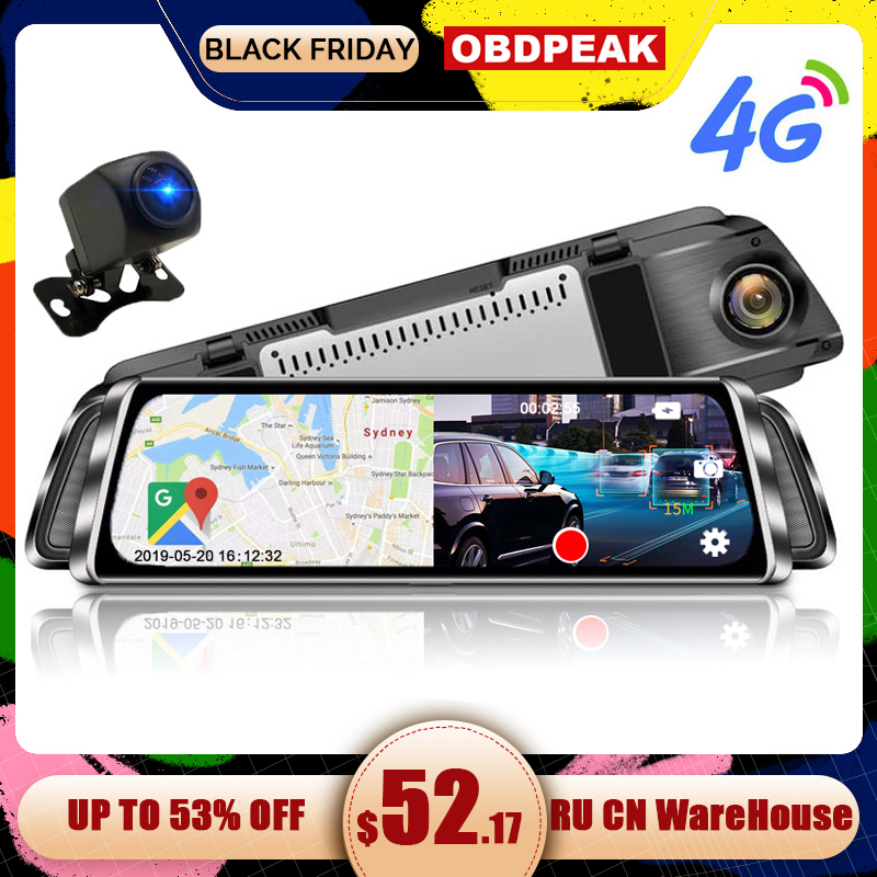 4G ADAS Автомобильный видеорегистратор Камера 10 Android SmartStream медиа зеркало заднего вида FHD 1080P камера WiFi gps видеорегистратор регистратор видео рекордер