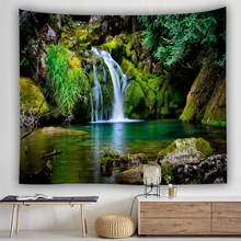 waterfall tapestry forest green tree blanket wall decor livingroom wall hanging drop shipping wall carpet