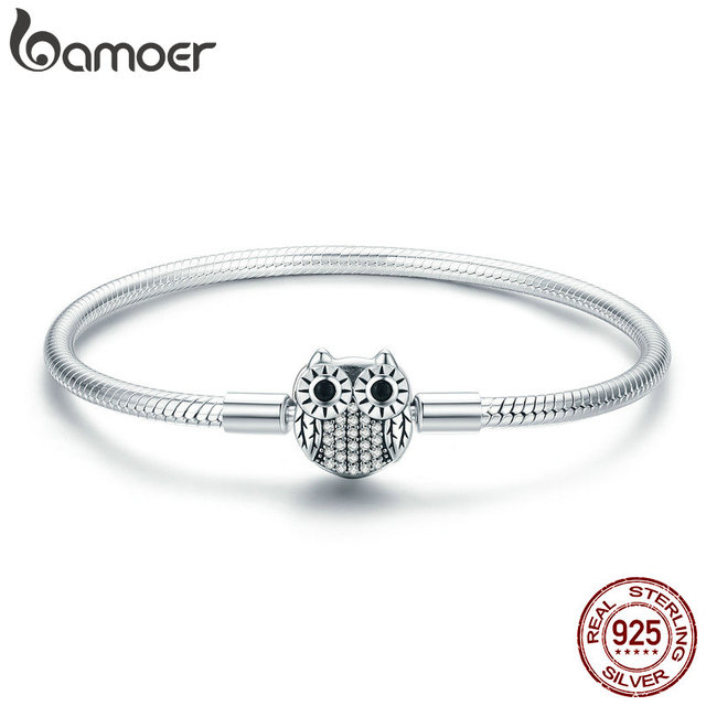 BAMOER Authentic 100% 925 Sterling Silver Cute Animal Owl Clasp Women Snake Chain Bracelet Sterling Silver Jewelry S925 SCB067