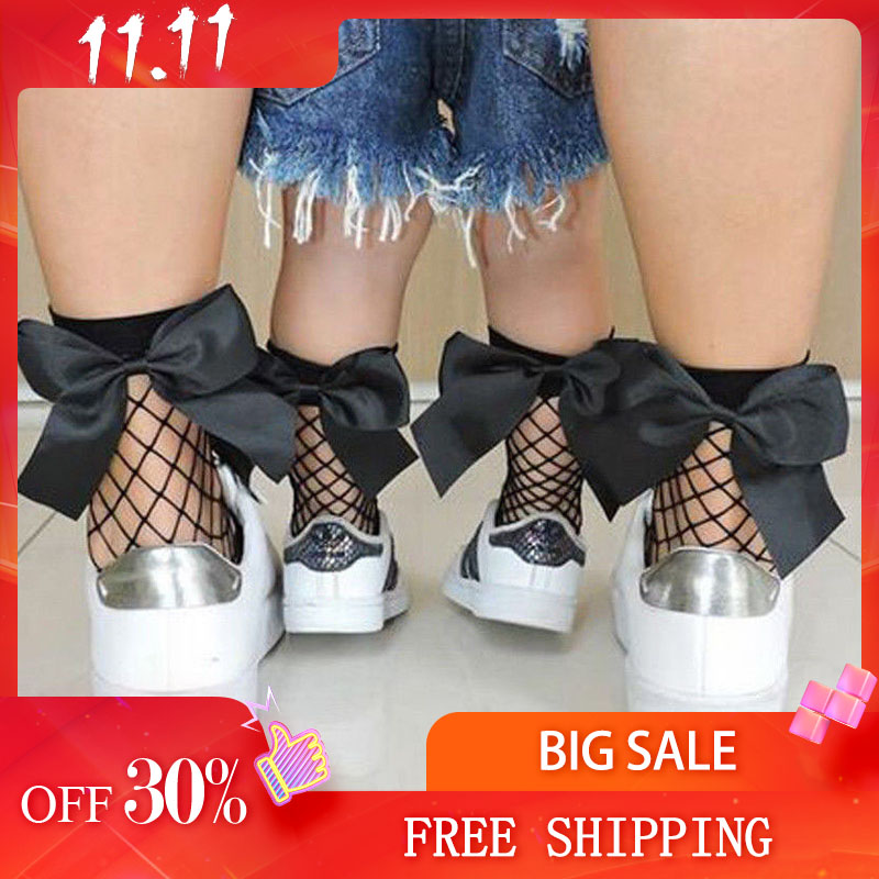1Pair Women Baby Girls Kids Mesh Socks Bow Fishnet Ankle High Lace Fish Net Vintage Short Sock Fashion Summer 2019 Sale One Size