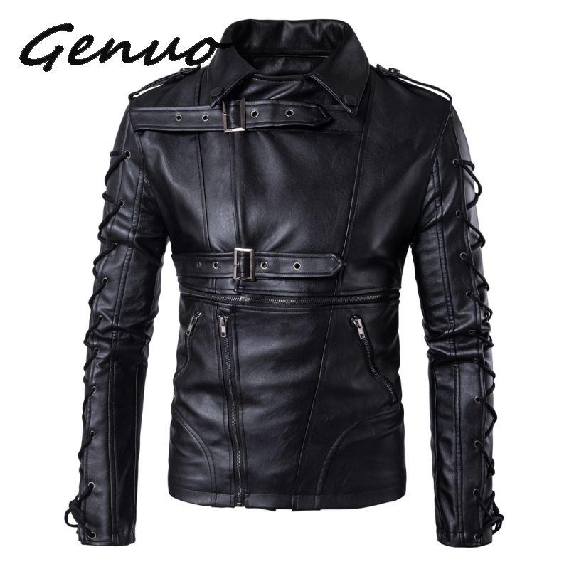 Genuo Brand Men leather jackets coats New degisn Europe and America Fashion motorcycle jacket Big Size 5XL Black jaket