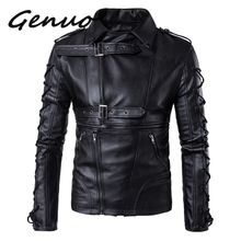 Genuo Brand Men leather jackets coats New degisn Europe and America Fashion motorcycle jacket Big Size 5XL Black jaket