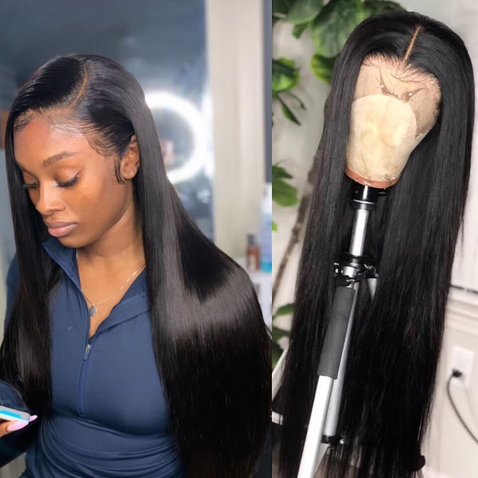 Haever 13x4 Closure Wig Lace Front Human Hair Wigs PrePlucked 30 Inch 180% Remy Brazilian Straight Lace Front Wig With Baby Hair