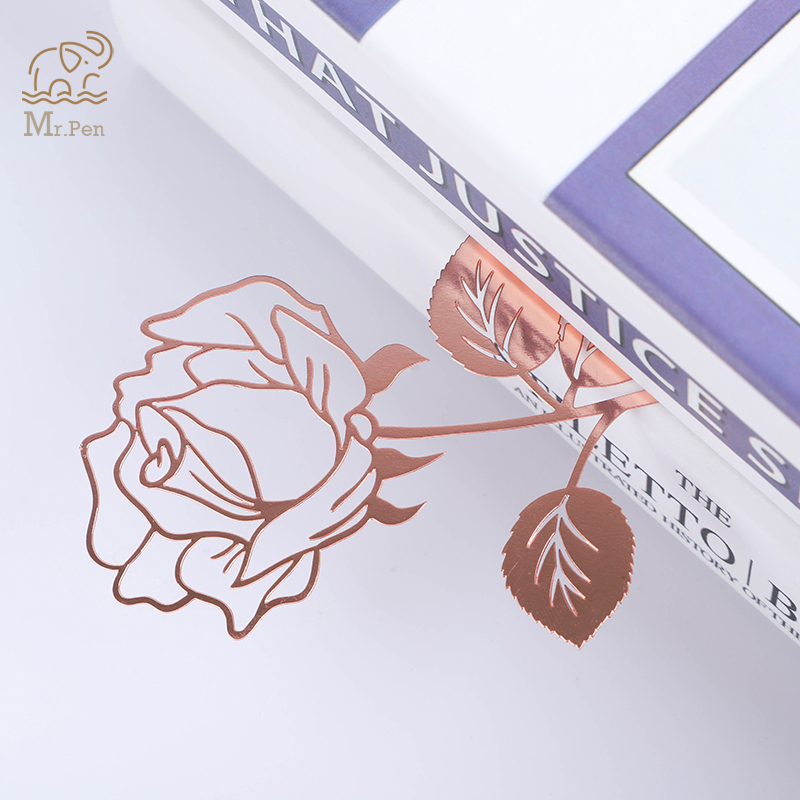 1pc Retro Metal Bookmark Beautiful Rose Book Page Mark Girl's Gifts With Greeting Card Stationery School Office Supplies