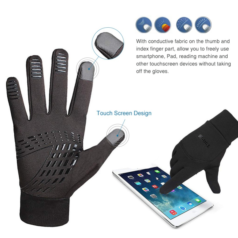 Winter Warm Anti-Slip Gloves Driving Cycling Running Gloves Thin Fleece Lining Gloves Unisex All-fingered Touch Screen Gloves