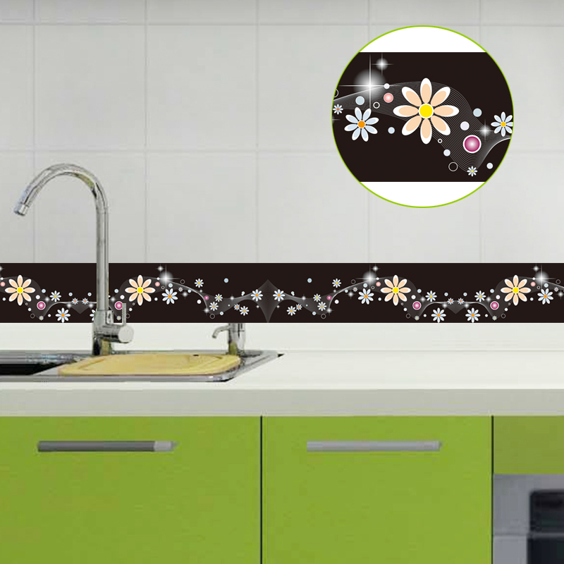 3D Baseboard Waistline Flower Wall Sticker Mural PVC Waterproof Self-adhesive Children Bedroom Bathroom Kitchen Wallpaper Border