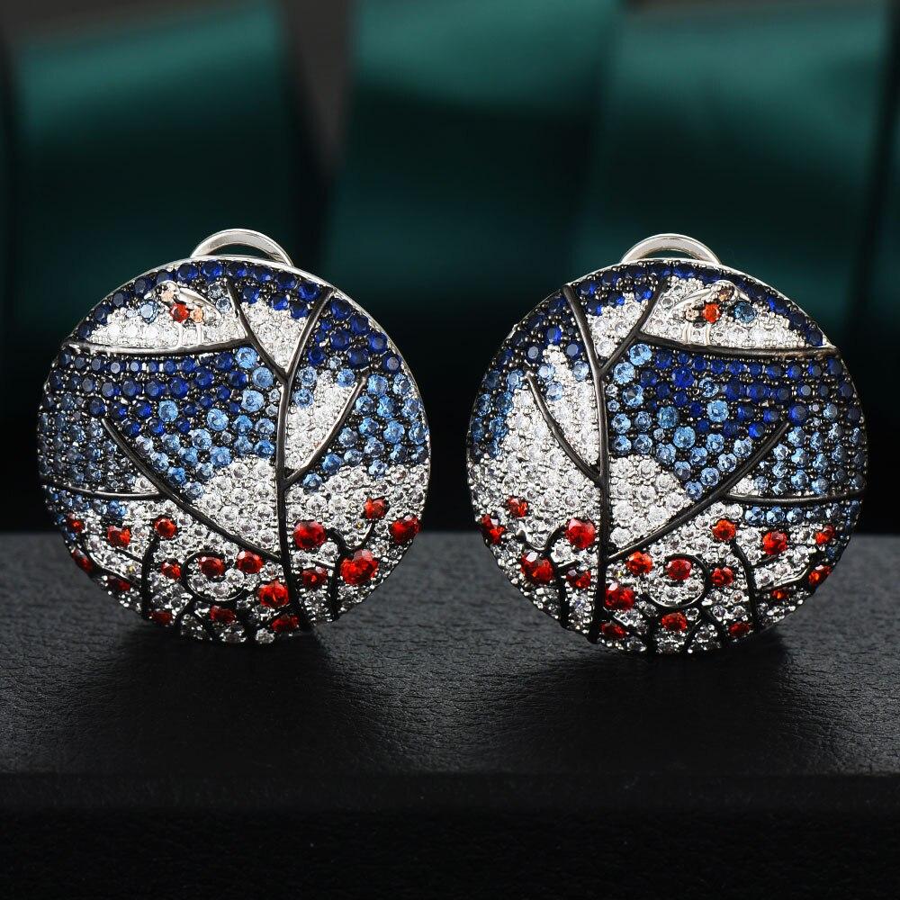 GODKI 30mm Luxury Bird Tree Cubic Zircon CZ Stud Earrings for women Wedding Dubai Trendy Earrings boucle d'oreille femme 2020