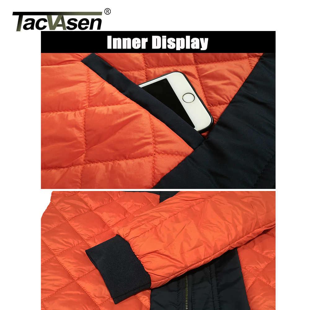 TACVASEN kış askeri ceket dış giyim erkekler pamuk yastıklı Pilot MA-1 bombacı ceket ceket rahat beyzbol ceketleri üniversite ceketleri
