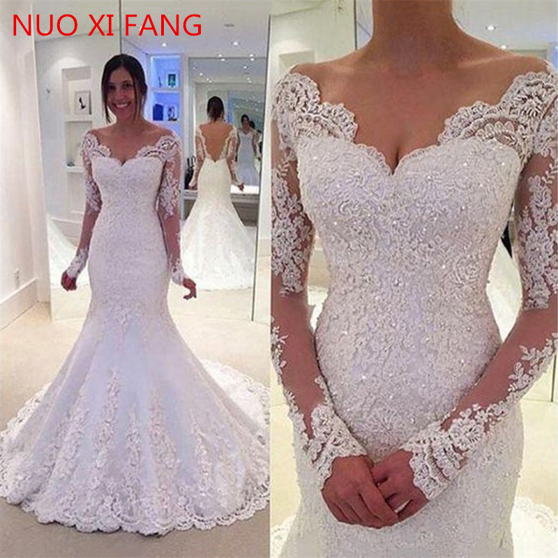 V Neck Long Sleeves White Wedding Dresses Lace Applique Mermaid Open Back Sweep Train Floor Length Bridal Dress Vestido De Noiva
