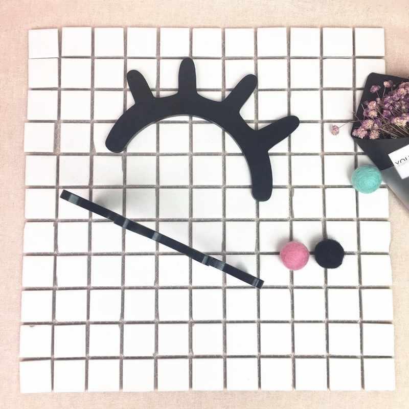 1 Pasang Cute Nordic Kayu 3D Bulu Mata Stiker Dinding Dekorasi Anak Anak-anak Bayi Kamar Latar Belakang Stiker Dinding Dekorasi Rumah