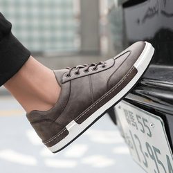 Bimuduiyu masculino moda artesanal sapatos casuais tamanho grande 38-48 tênis para homem de couro ao ar livre rendas sapatos planos masculinos