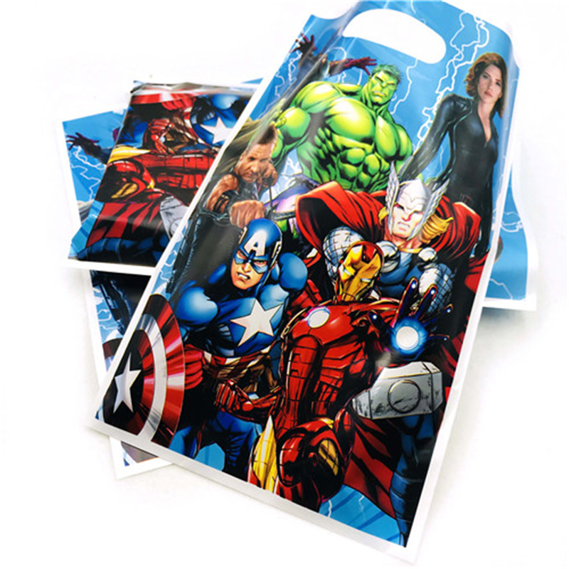 10pcs/bag Avengers Gift Bag Cartoon Theme Party Supplies Kids/Girls Happy Birthday Party Decoration Theme Party Favors Festival