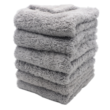 6 pçs 500gsm ultra grosso edgeless microfiber toalhas de limpeza de carro pano lavagem depilação secagem polimento detalhando toalha azul cinza