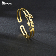 Name-Bangle Custom Stainless-Steel Jwelry Personalized Women for Open Heart Gift Diamon