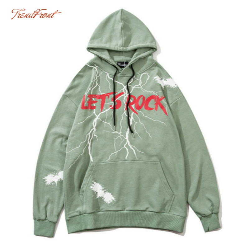 TF 2020 Autumn Winter European American High Street Hip-hop Men's Hooded Sweater Cool Lightning Lettered Oversize Hoodie Jacket 1