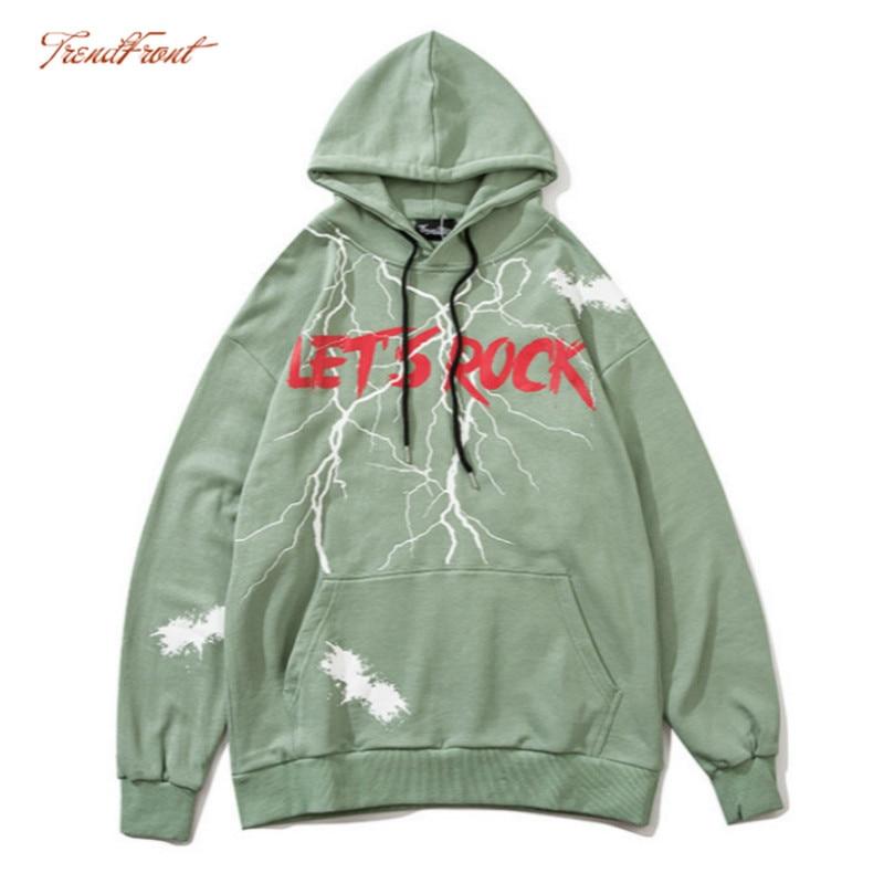 TF 2020 Autumn Winter European American High Street Hip-hop Men's Hooded Sweater Cool Lightning Lettered Oversize Hoodie Jacket 1