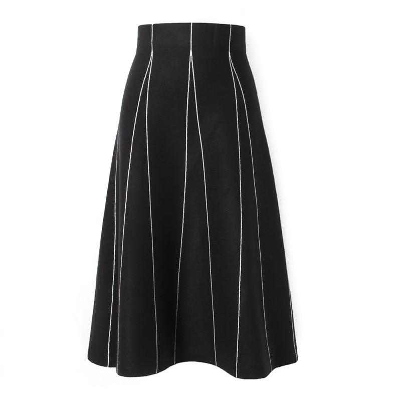 Faldas Mujer Moda 2019 Winter Women Skirt Stripe Fashion A-Line Skirts Faldas Kint Skirts Womens Jupe Femme Saia Midi Streetwear