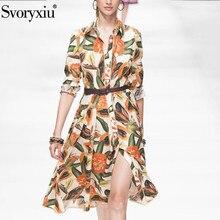滑走路秋綿 のフルーツパパイヤプリントレースのドレスの女性のエレガントな長袖ハイエンドパーティードレス Svoryxiu 100%