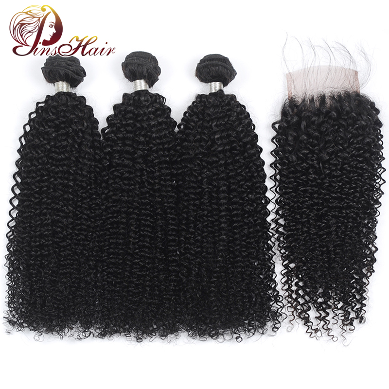 Pinshair Afro Kinky Curly Bundles With Closure Brazilian Human Hair Weave Bundles With Closure Pre-Plucke 100% Remy Hair Bundles