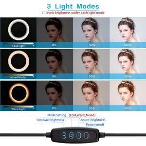 Image 5 - Fosoto 16/26cm éclairage photographique 3200K 5500K Dimmable Led anneau lumière lampe Photo Studio téléphone vidéo beauté maquillage avec trépied