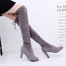 2020 New Sexy Over-the-knee Boots Women Boots Female Winter Shoes Woman Lace Up Fashion Suede High Heels Boots Thigh High Boots hee grand lace up rain boots woman fashion med heels new shoes woman high quality casual hot sale women boots size 36 40 xwx4924