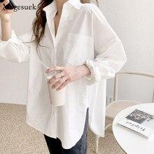 Manga comprida de algodão branco blusa feminina 2021 plus size solto camisas femininas blusas casual escritório senhora botão camisa topos blusas11456