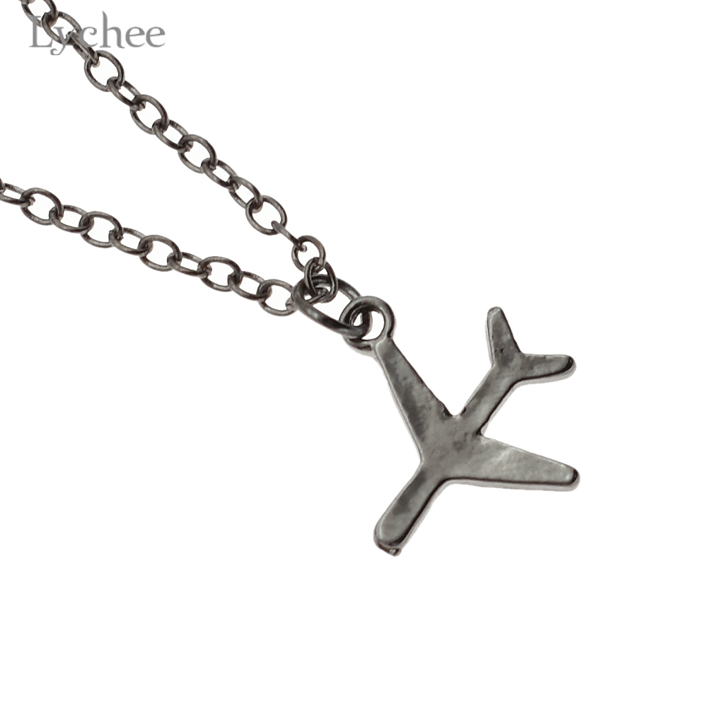 Lychee Harajuku Black Airplane Necklace for Women Men Aircraft Choker Alloy Chain Collar Necklaces Gift Jewelry Present Keepsake image