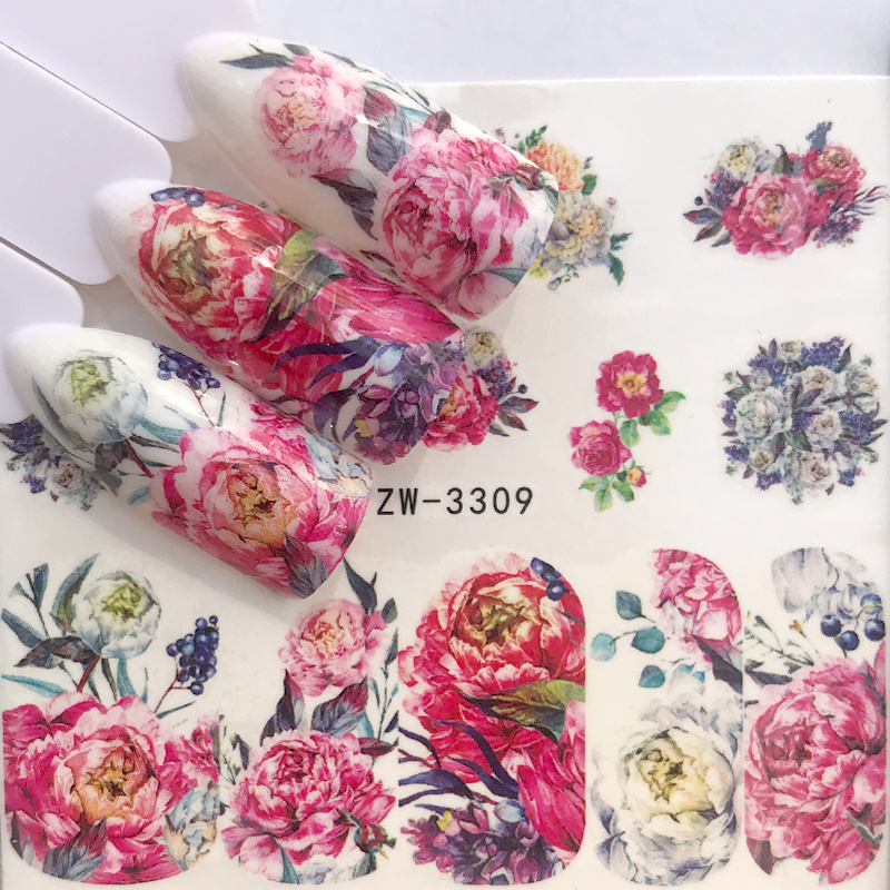 1 Sheet Rose Lavender Flower Nail Art Water Transfer Stickers Full Wraps Christmas Series Designs DIY Nail Decoration Decal Gift