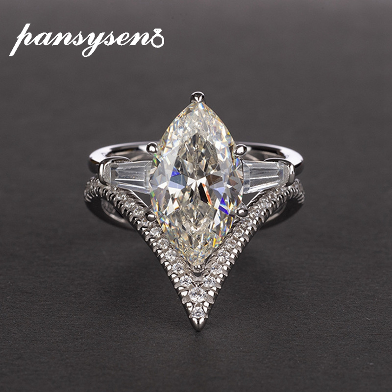 PANSYSEN 6ct Mariquesa Created Moissanite Wedding Jewelry Rings For Women 100% Solid 925 Sterling Silver Engagement Party Ring