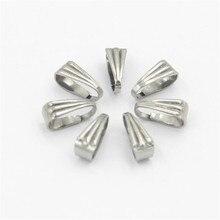 50 pçs 304 aço inoxidável snap bail gancho pitada clipe pingente conectores para colar jóias diy artesanato fazendo