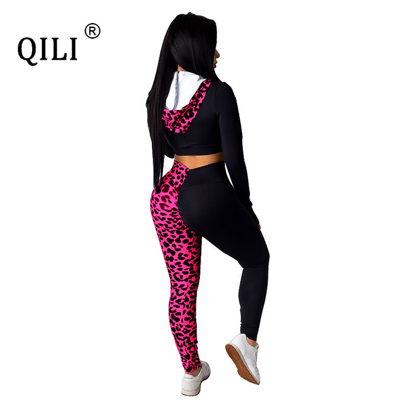 QILI Womens Sets Long Sleeve Zipper Hooded 2 Piece Outfits Leopard Print Fashion Autumn Clothes Plus Size Women Sets