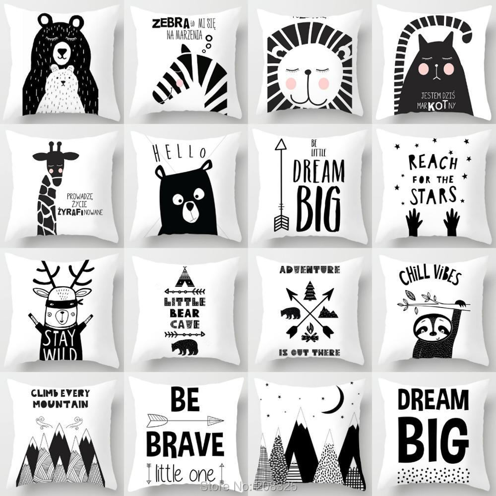ZENGIA Little Bear Cave Black White Cushion Cover Animals Throw Pillows Scandinavian Home Decor Geometric Mountain Pillow Cover