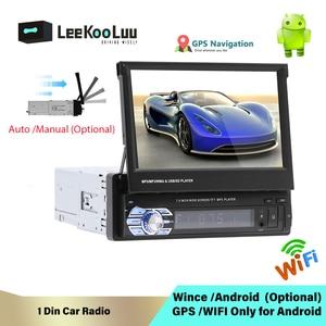 "LeeKooLuu Android 1 Din Auto Radio 7"" Retractable Screen Car Radio GPS Navigation WIFI Mirrorlink Rear Camera Multimedia Player(China)"