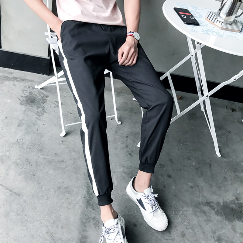 Spring And Summer Men Sports Ankle Banded Pants Skinny Casual Trousers Couples Wearable Business Attire Pants Fashion Large Size