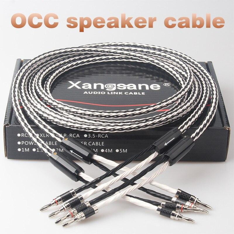 Xangsane 8TC Single Crystal Copper Audio Speaker Cable HiFi Amplifier Speaker Cable Y-Y Banana Head-Banana Head Banana Head-Y
