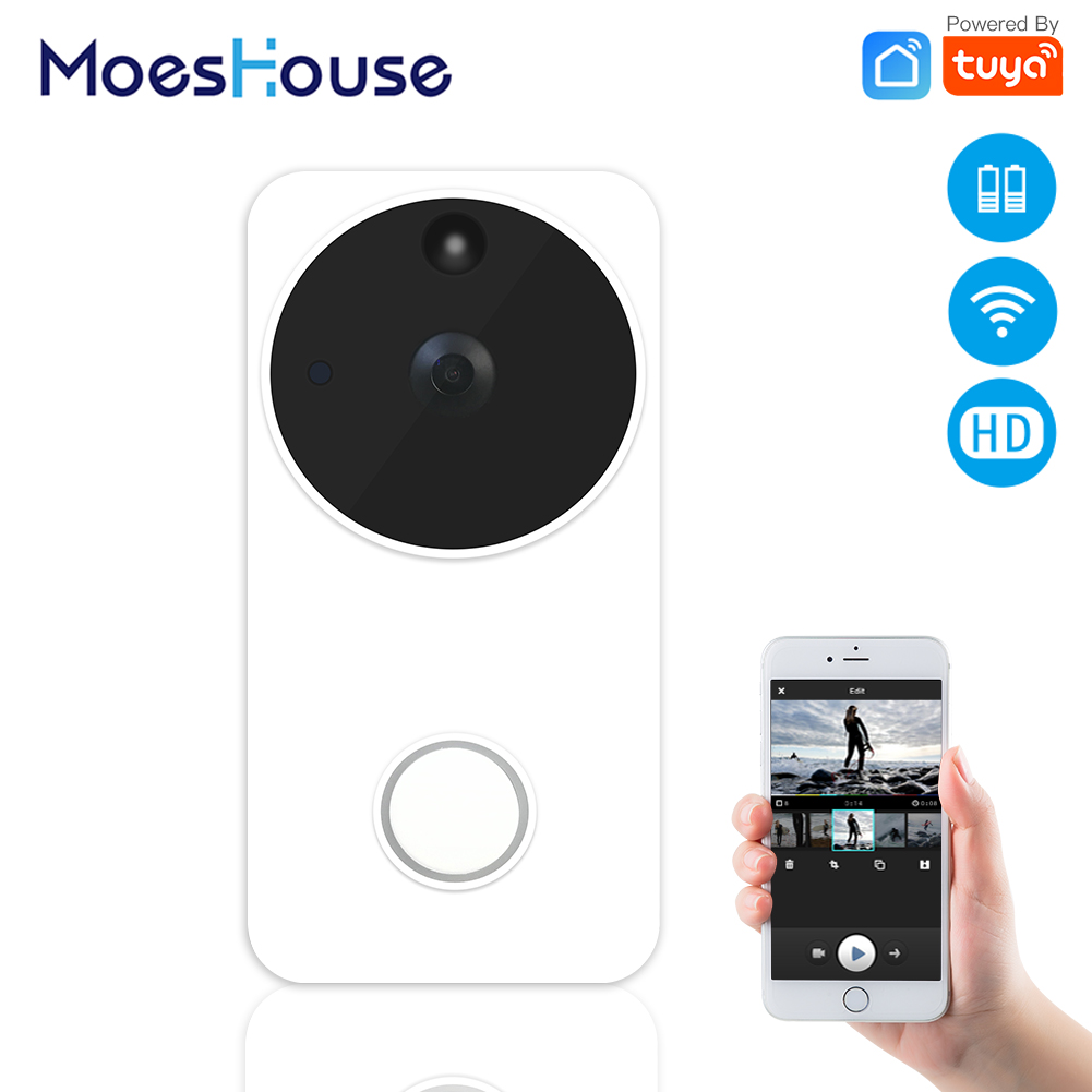 Tuya WiFi Wireless Smart Video Doorbell Camera Full HD PIR Motion Detection Night Vision Camera Work With Alexa Echo Show