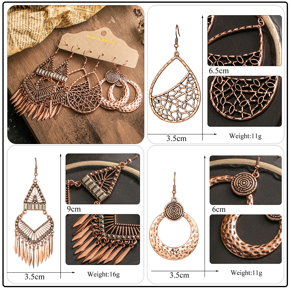 Ethnic Rose Gold Metal Tassel Fringe Womens Earrings Sets Jewelry Bohemia Vintage Round Circle Leaf Butterfly Geometric Drop Earrings Dropshipping Wholesale (2)