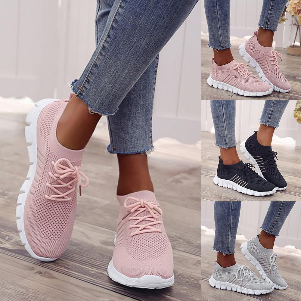 Women Casual Shoes Fashion Breathable Walking Mesh Lace Up Flat Shoes Sneakers Women 2019 Feminino Lightweight Sneakers D30