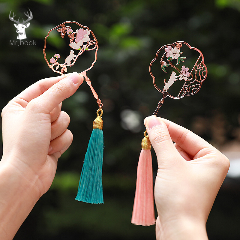Vintage Hollow Cherry Fan Metal Bookmark Cat And Flower Creative Rose Gold Bookmarks With Tassel Promotional Gift Stationery