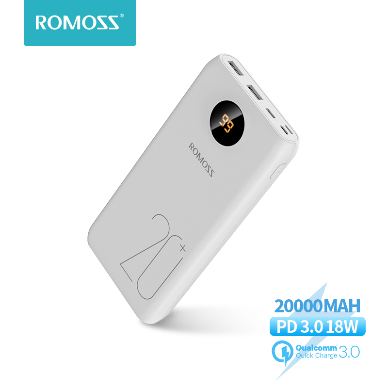 20000mAh ROMOSS SW20 Pro Portable Power Bank Charger External Battery PD 3.0 Fast Charging With LED