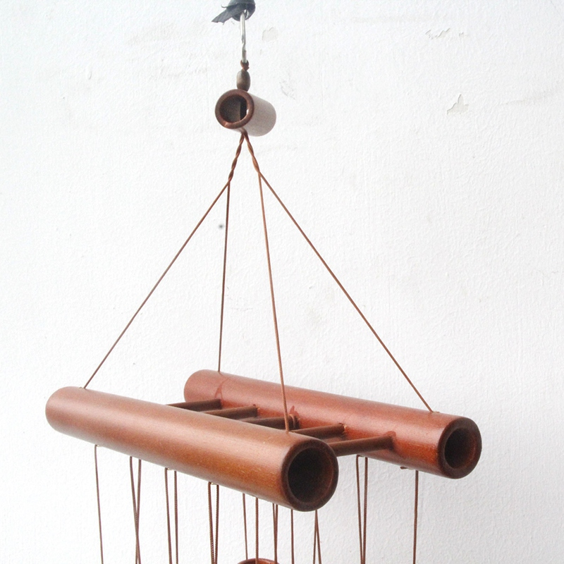 Hand-Crafted Natural Bamboo Tubes Wind Chimes Hollow Tuned Music with a Ladder