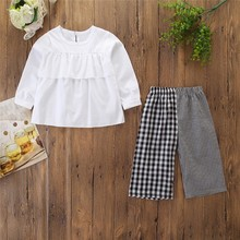 New Autumn 1-6T Baby Girl Clothes Cute Toddler Long Sleeve Top And Plaid Trousers Kids Two-piece Outfit Set #m
