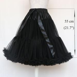Image 5 - Lolita Petticoat Woman Short Underskirt Rockabilly Ruffle Tulle Black White Red Stock Puffy Tutu Skirt Cosplay Cocktail Dress