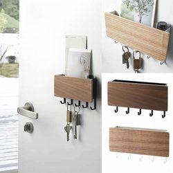 Atucoho loja nova parede-pendurado tipo de madeira decorativo prateleira de parede artigos diversos caixa de armazenamento cabide organizador chave rack prateleira de parede de madeira