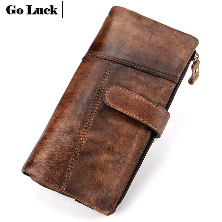 GO-LUCK Brand RFID Genuine Leather Daily Clutches Wallet Men's Cardholder Cell Phone Pouch Card Case Men Hasp Purse Coin Bag