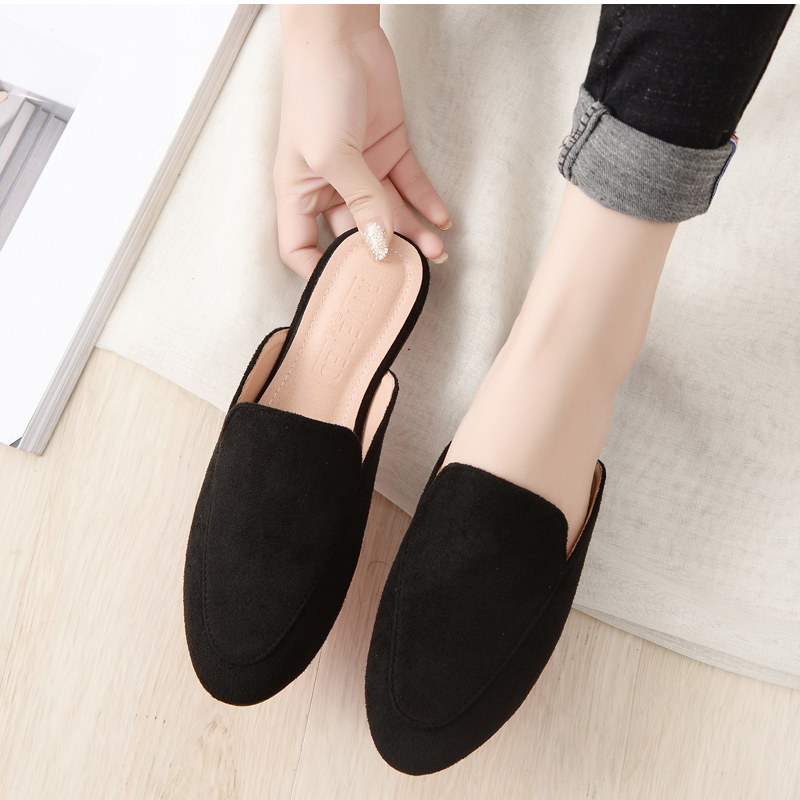Women Slipper Shoes Half Slippers Mules Flats Shoes 2019 New Female Casual Ponited Flats Loafers Solid Color Mules Flat 4