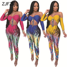 Gradient Print Sexy Bodycon Jumpsuit Women Off The Shoulder Backless One Piece Overall  Casual Cut Out Night Club Party Playsuit purple sexy cut out backless playsuit with self tie design