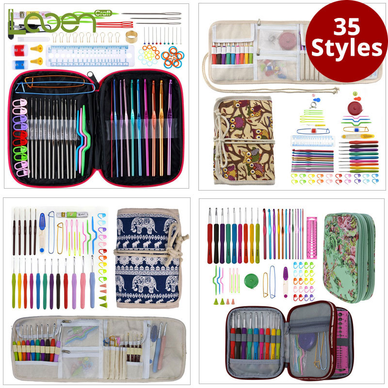Looen 35 styles Corchet Hooks Set With Case DIY Weave Knitting Needles Scissors Needle Arts Craft Sewing Tools Accessories